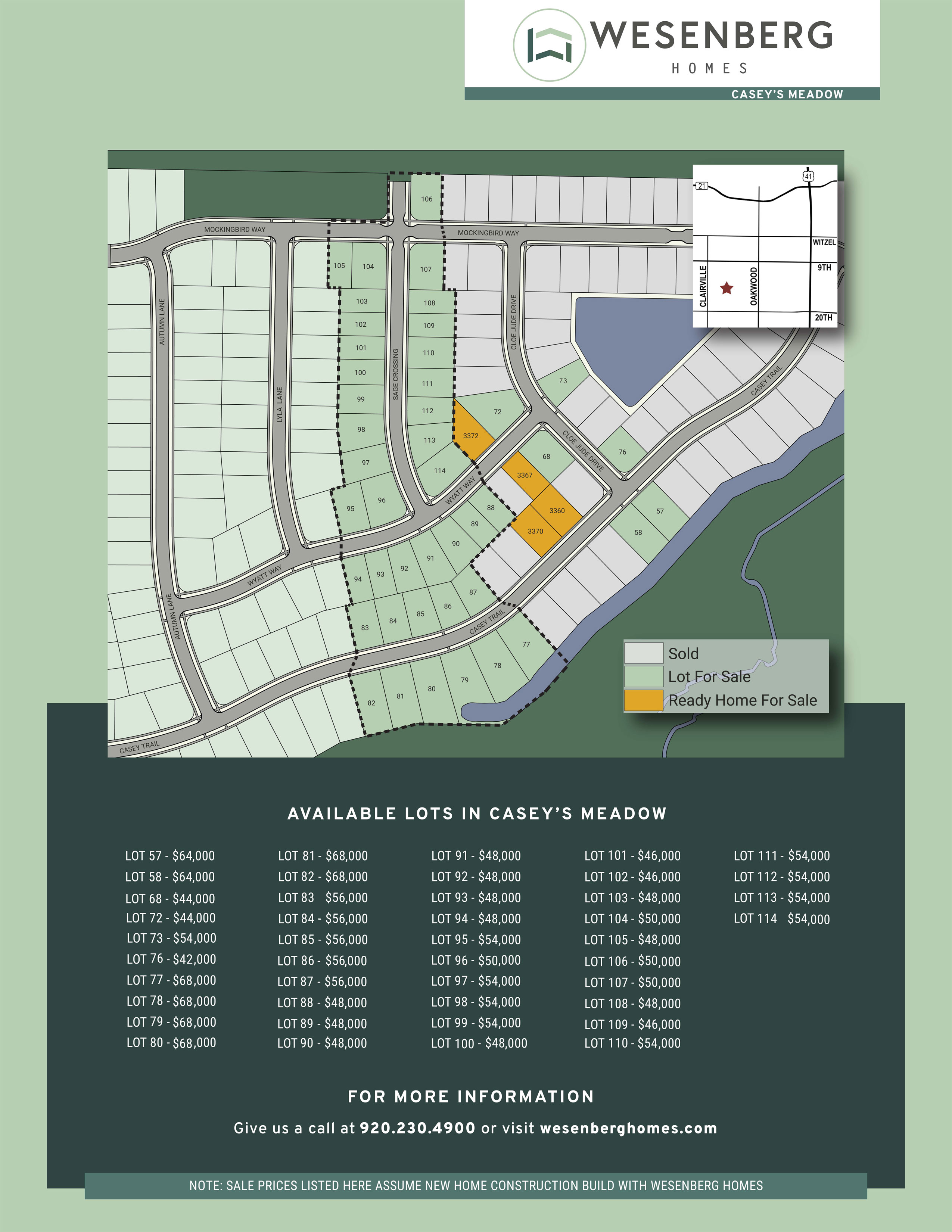Homes and Lots for Sale in Oshkosh - Casey's Meadow