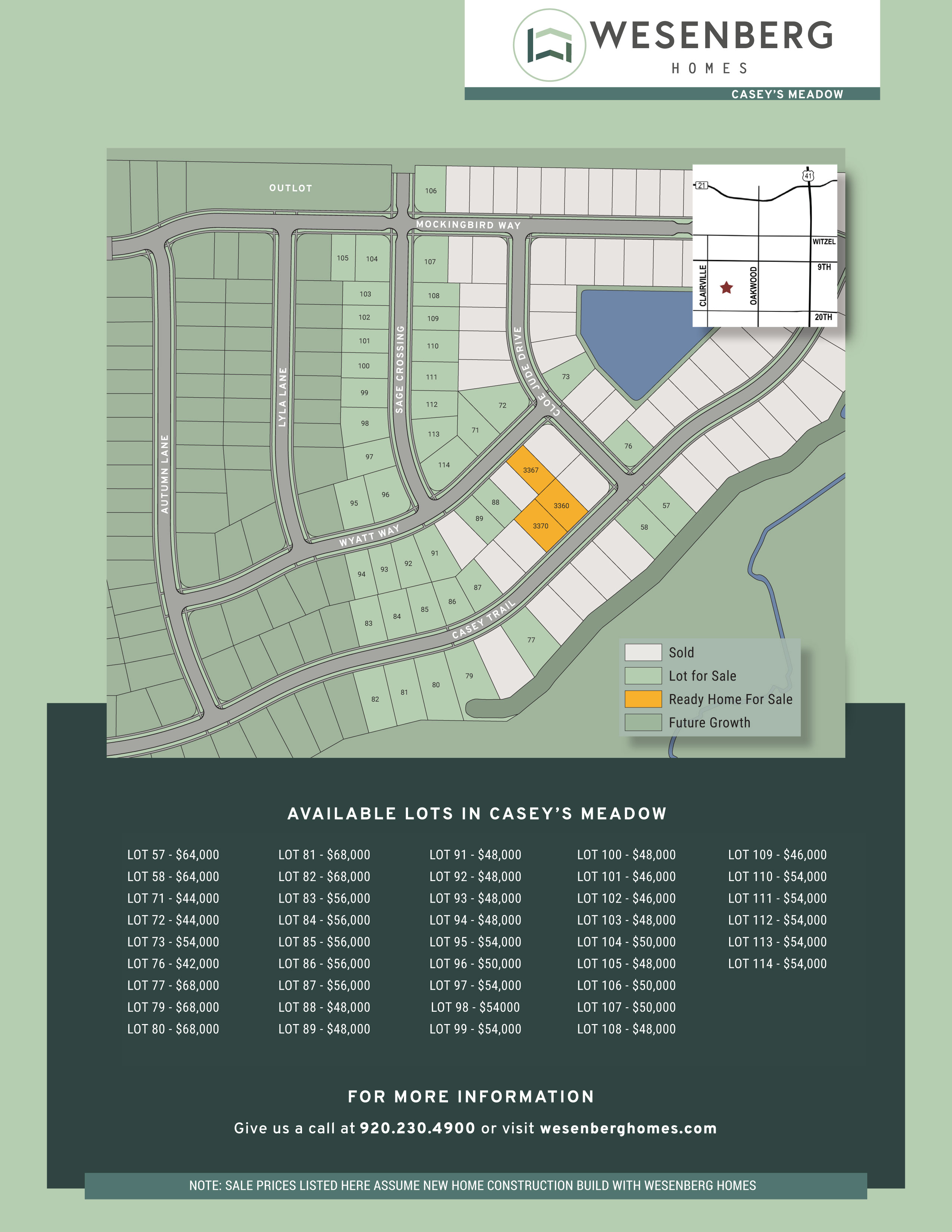 Casey's Meadow Homes and Lots For Sale