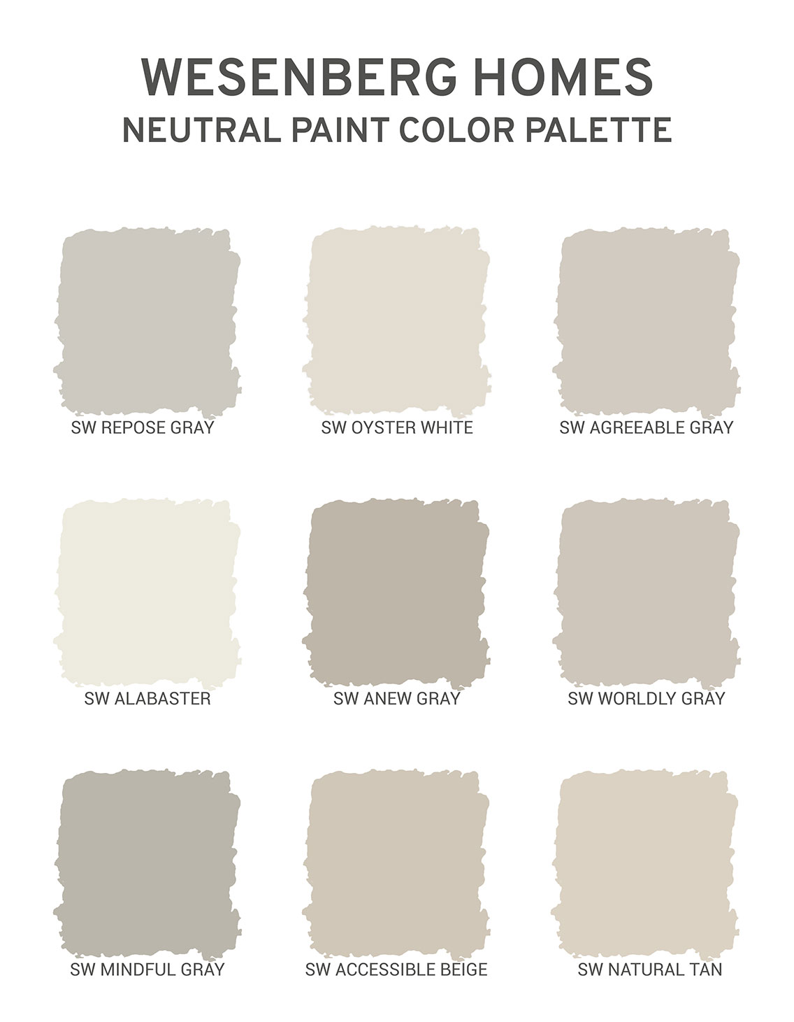 Wesenberg Homes Interior Paint Palette